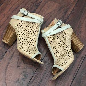 BKE Sole peep toe eyelet cut out heeled booties